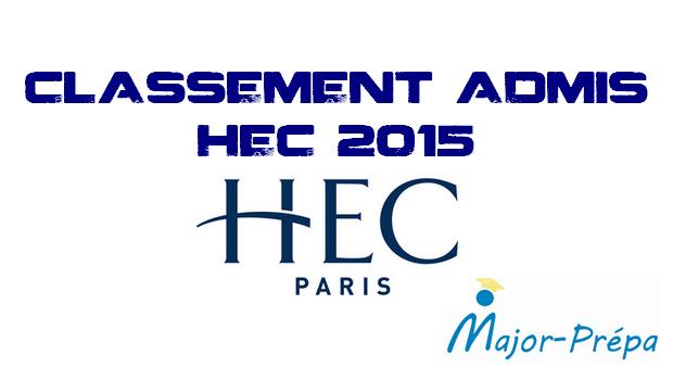 Classement admis HEC 2015