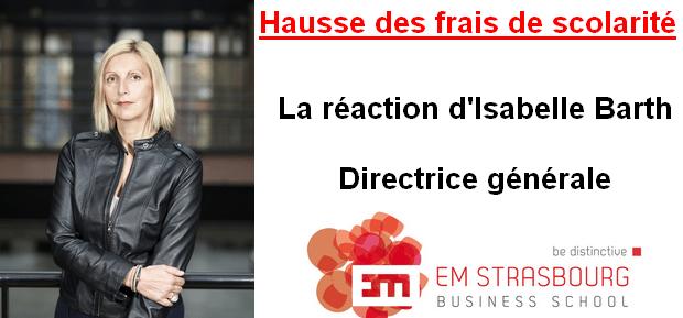 La réaction d'Isabelle Barth, Directrice Générale de l'EM Strasbourg face à la hausse des frais de scolarité