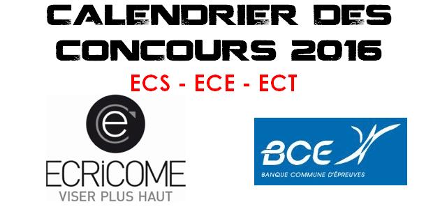 Calendrier BCE & Ecricome 2016