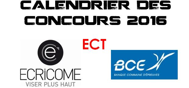 Calendrier BCE & Ecricome 2016 – ECT