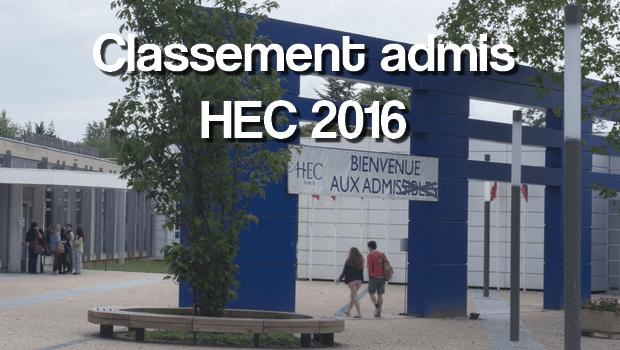Classement HEC 2016 des admis