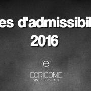Barres d'admissibilités Ecricome 2016