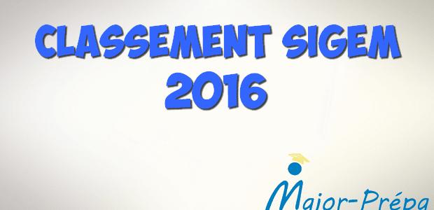 Classement Major-Prépa – SIGEM 2016