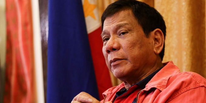 """Philippines' president-elect Rodrigo Duterte speaks during a press conference in Davao City, in southern island of Mindanao on May 26, 2016. Explosive incoming Philippine president Rodrigo Duterte has launched a series of obscenity-filled attacks on the Catholic Church, branding local bishops corrupt """"sons of whores"""" who are to be blamed for the nation's fast-growing population. / AFP / MANMAN DEJETO (Photo credit should read MANMAN DEJETO/AFP/Getty Images)"""
