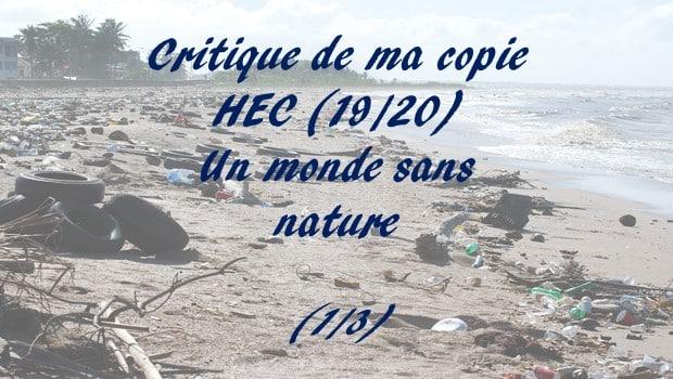 Critique de ma copie HEC notée 19/20 – Un monde sans nature (1)
