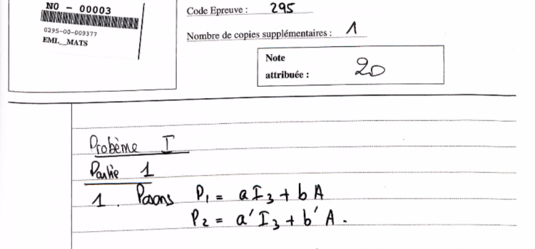 Copie de Maths emlyon 2016 notée 20/20