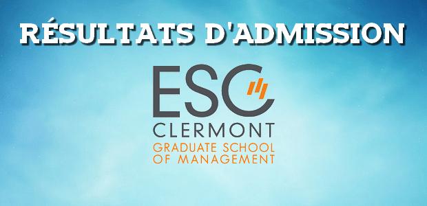 Résultats d'admissions ESC Clermont 2018