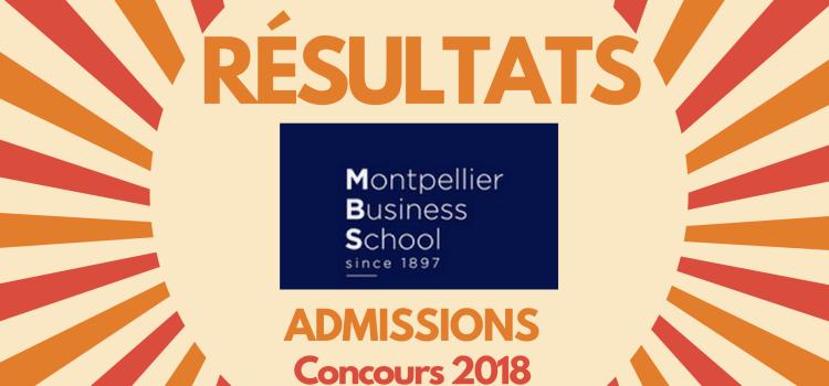 Résultats d'admissions Montpellier BS 2018