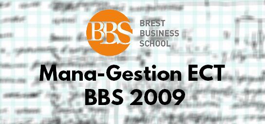 Sujet Management Gestion ESC 2009