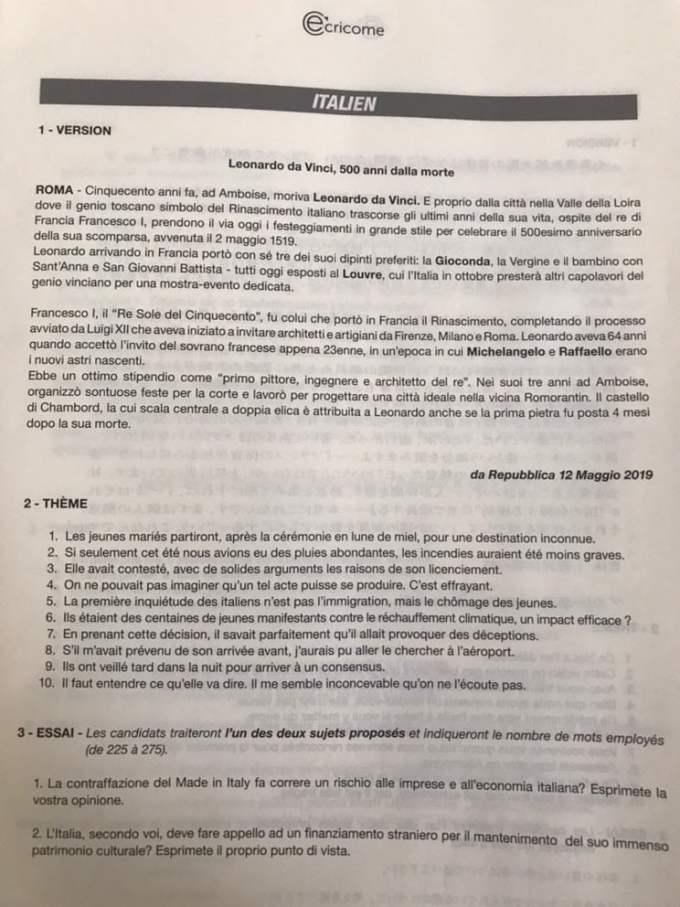 lV2 Langues rares italien Ecricome 2020