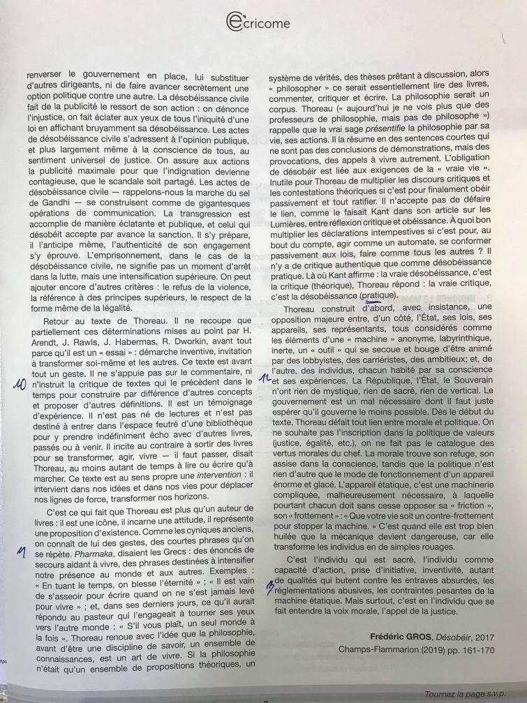 ujet résumé de texte Ecricome 2