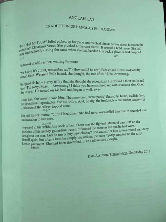 sujet LV1 anglais 2020 2