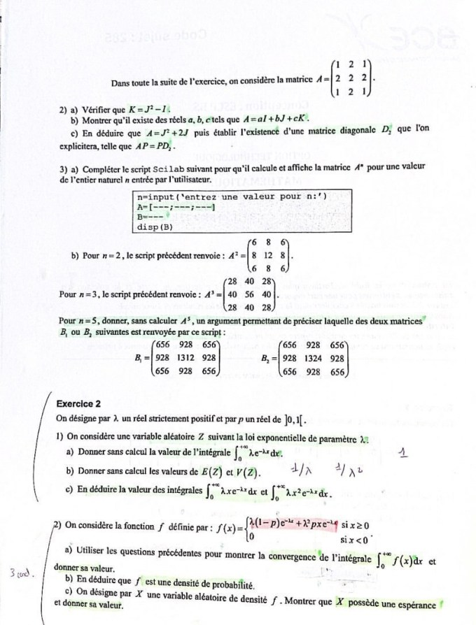 Sujet Maths ECT ESCP 2021