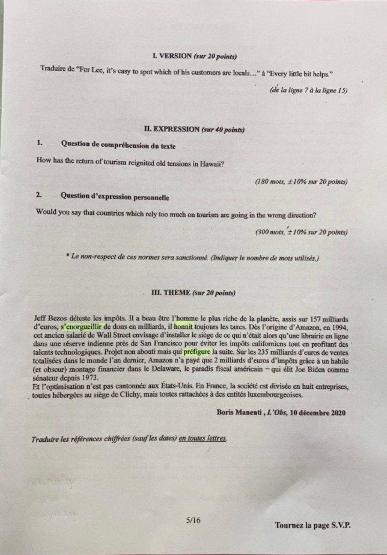 sujet Anglais Lv1 IENA 2021