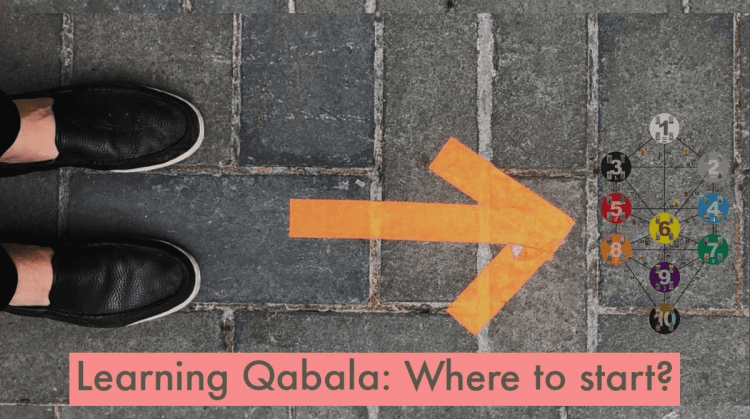 "A view looking straight down at stone pavement, with shoes on one side pointed in the direction of an arrow pointing toward the Tree of Life superimposed. Text: ""Learning Qabala: Where to start?"""