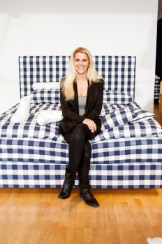 Vanessa on a Hastens bed