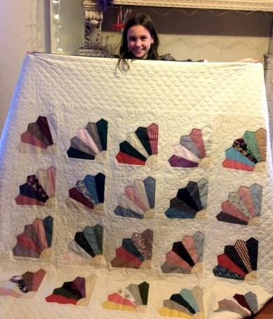 Family quilt presentation