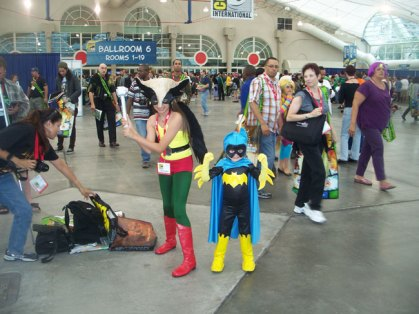 Who says comics aren't for kids. Two children dressed as Hawkgirl and Batgirl