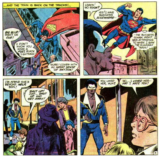 "[O'Neil, Denny (w), Staton, Joe (p), & Chiaramonte, Frank (i).] ""The De-volver!""  DC Comics Presents #16 (December 1979), p.4, DC Comics Inc."