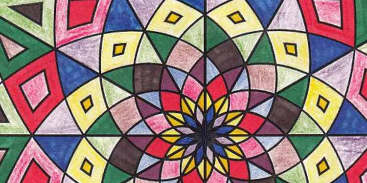 Detail of a hand-colored mandala