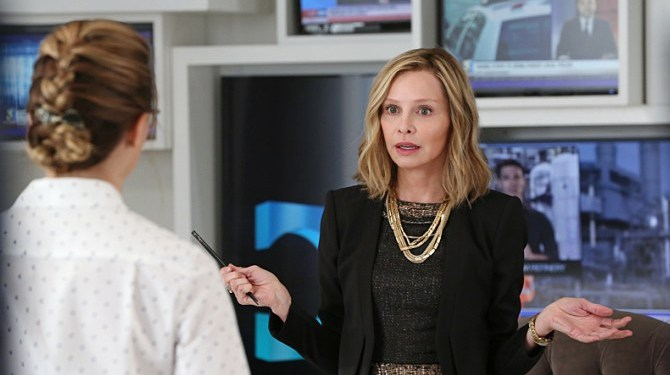 """""""Stronger Together"""" -- Cat (Calista Flockhart, right) pressures James to use his connection to Superman to get her an interview with Supergirl, when SUPERGIRL moves to its regular time period, Monday, Nov. 2 (8:00-9:00 PM, ET/PT) on the CBS Television Network. Also pictured: Melissa Benoist (left) Photo: Michael Yarish/CBS ©2015 CBS Broadcasting, Inc. All Rights Reserved"""