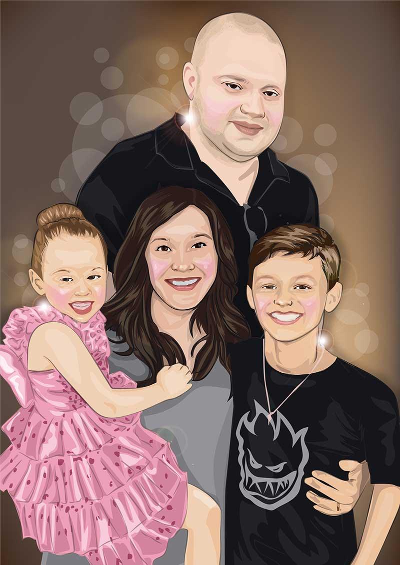 ผลงานวาดภาพคนเหมือน-ภาพวาดครอบครัวสไตล์เวคเตอร์-(Vector)-วาดด้วยโปรแกรม-Illustrator