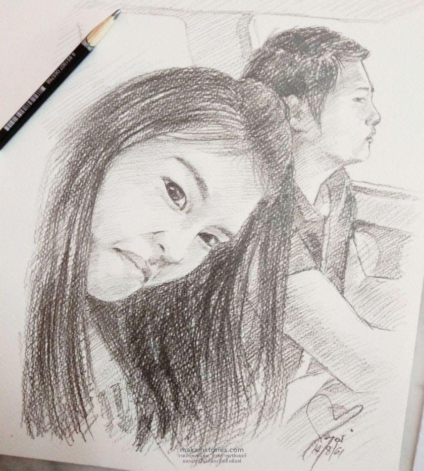ภาพเหมือนลายเส้นดินสอ Drawing Portrait ภาพเหมือนคู่รักผู้หญิงและผู้ชาย