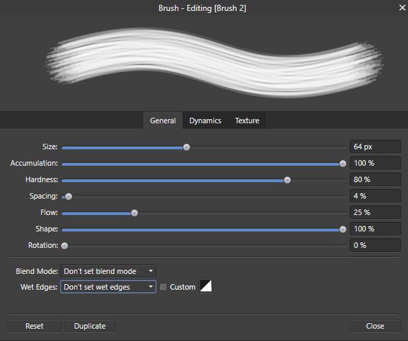 สร้างบรัชใน Affinity Designer ขั้นตอนที่ 6 ปรับค่าใน Brushes Studio Palette แท็บ General