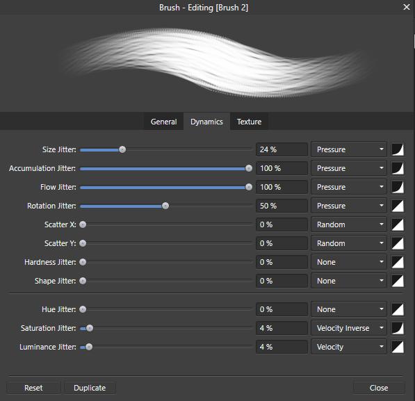 สร้างบรัชใน Affinity Designer ขั้นตอนที่ 7 ปรับค่าใน Brushes Studio Palette แท็บ Dynamics