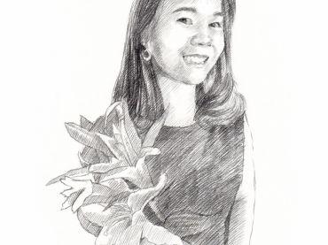ภาพวาดภาพเหมือนลายเส้นดินสอ ภาพวาดดรออิ้งผู้หญิงกับดอกไม้ (Drawing Portrait)