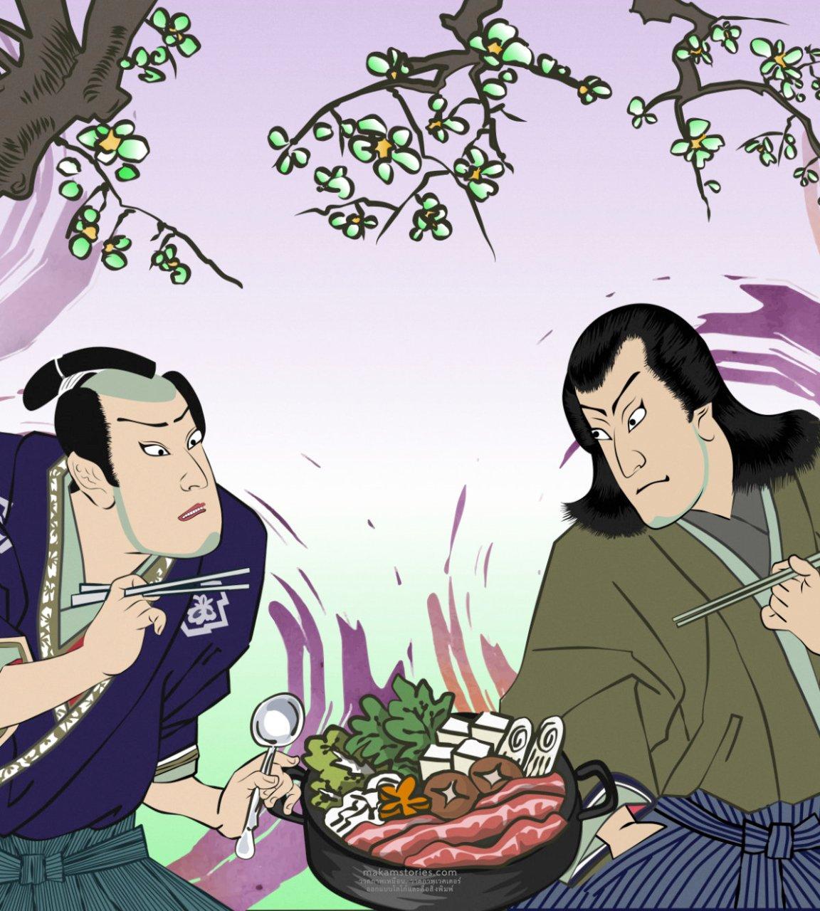 วาดภาพประกอบซามูไรญี่ปุ่นสำหรับงานวาดบนผนังร้านชาบู