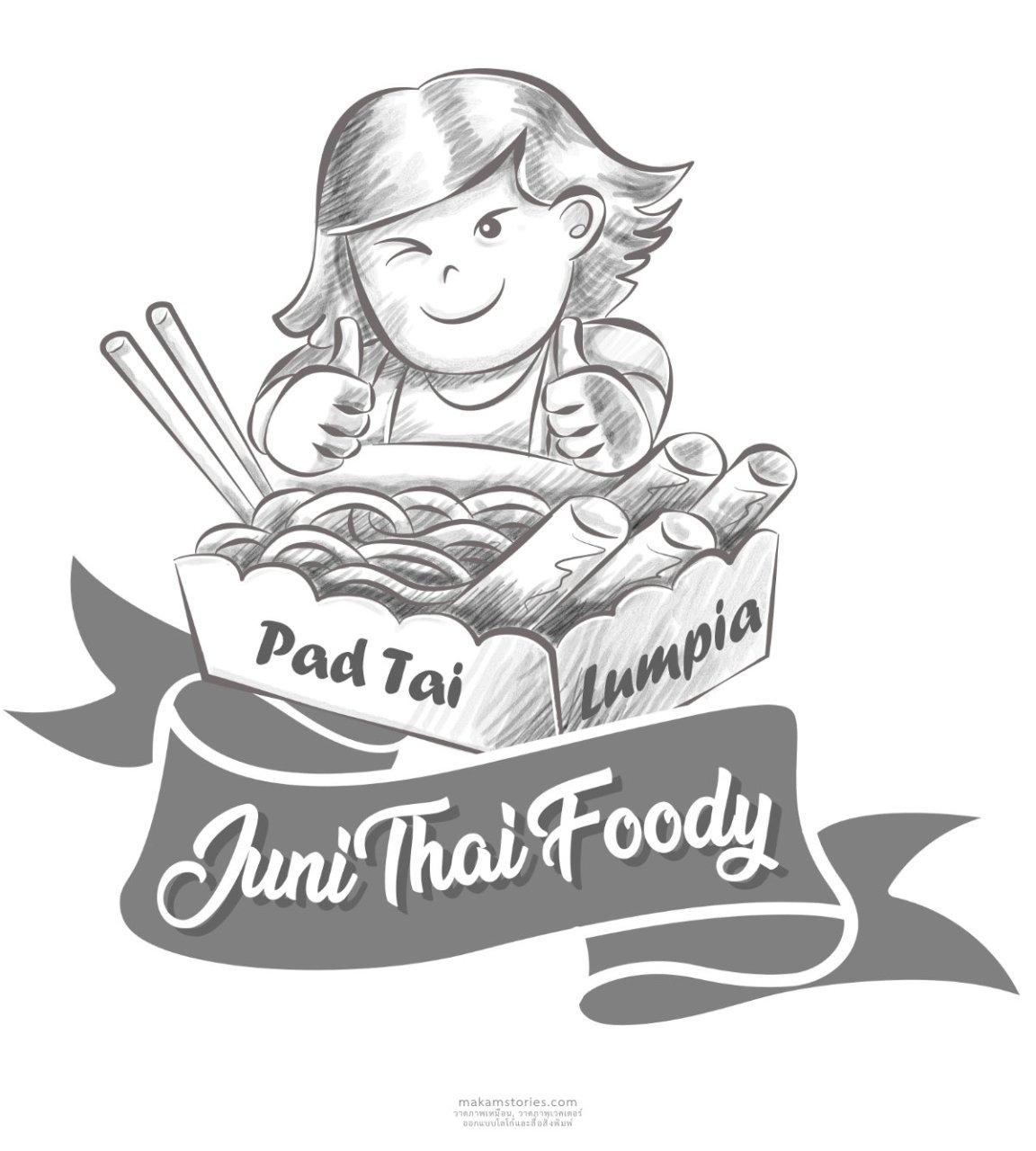 ออกแบบโลโก้ ร้านอาหารผัดไทยในต่างประเทศ โลโก้สไตล์ภาพลายเส้น