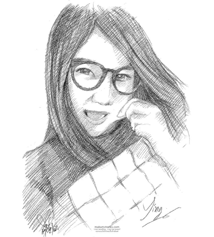 Pencil Drawing Portrait ภาพเหมือนลายเส้น ภาพวาดแรเงา ภาพวาดดรออิ้งลายเว้นผู้หญิง