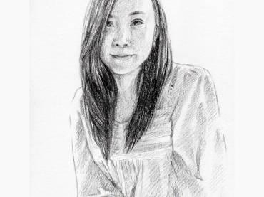 ผลงานวาดภาพเหมือนผู้หญิง สไตล์ลายเส้นดินสอ