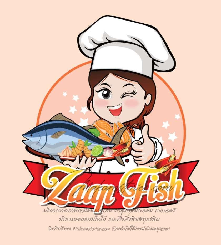 ผลงานออกแบบวาดโลโก้การ์ตูนน่ารัก โลโก้ร้านอาหารไทย (Thai Cartoon Logo)