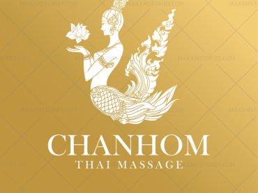 งานออกแบบโลโก้ร้านนวดแผนไทย ออกแบบโลโก้ลายไทย โลโก้กินรี Thai Massage Logo