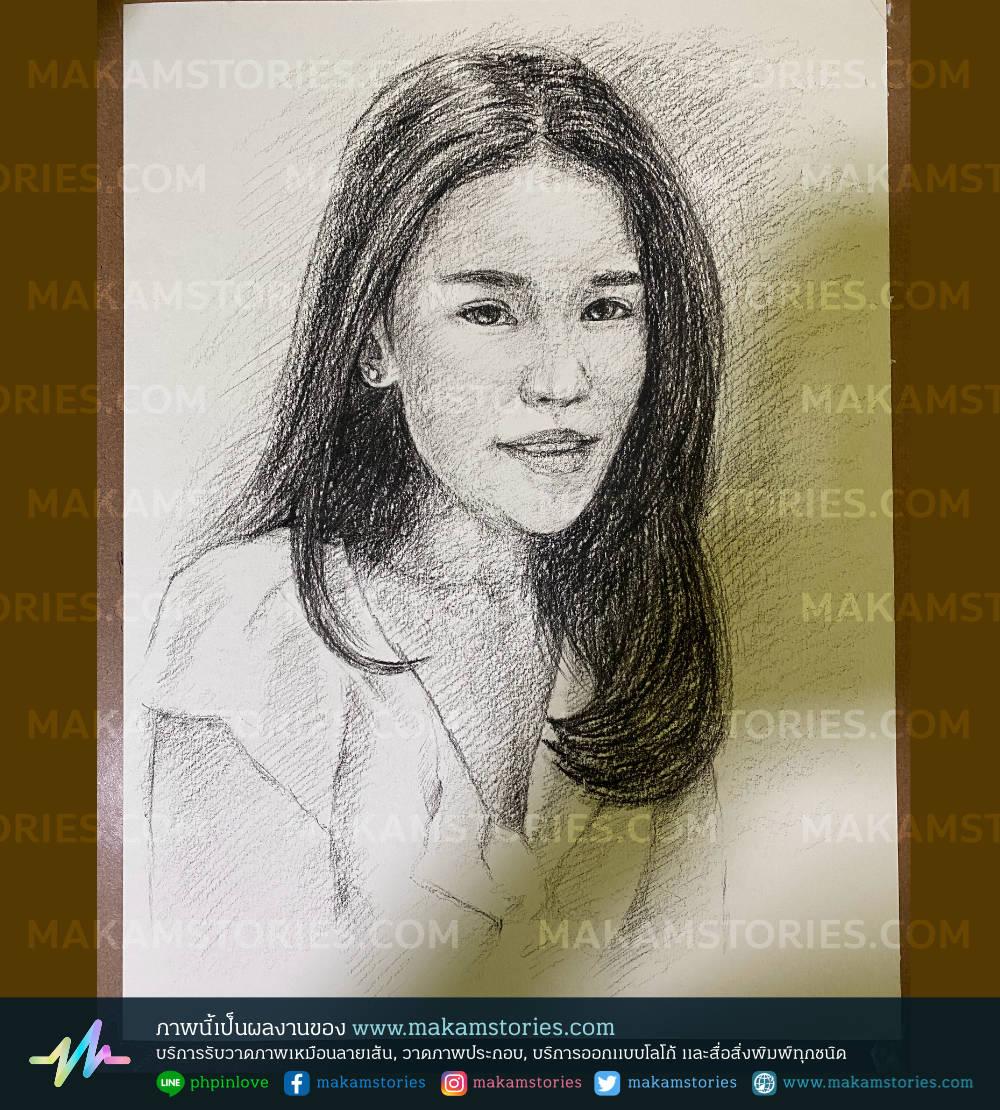 วาดภาพเหมือนลายเส้นดินสอ ภาพวาดลายเส้น Drawing Portrait