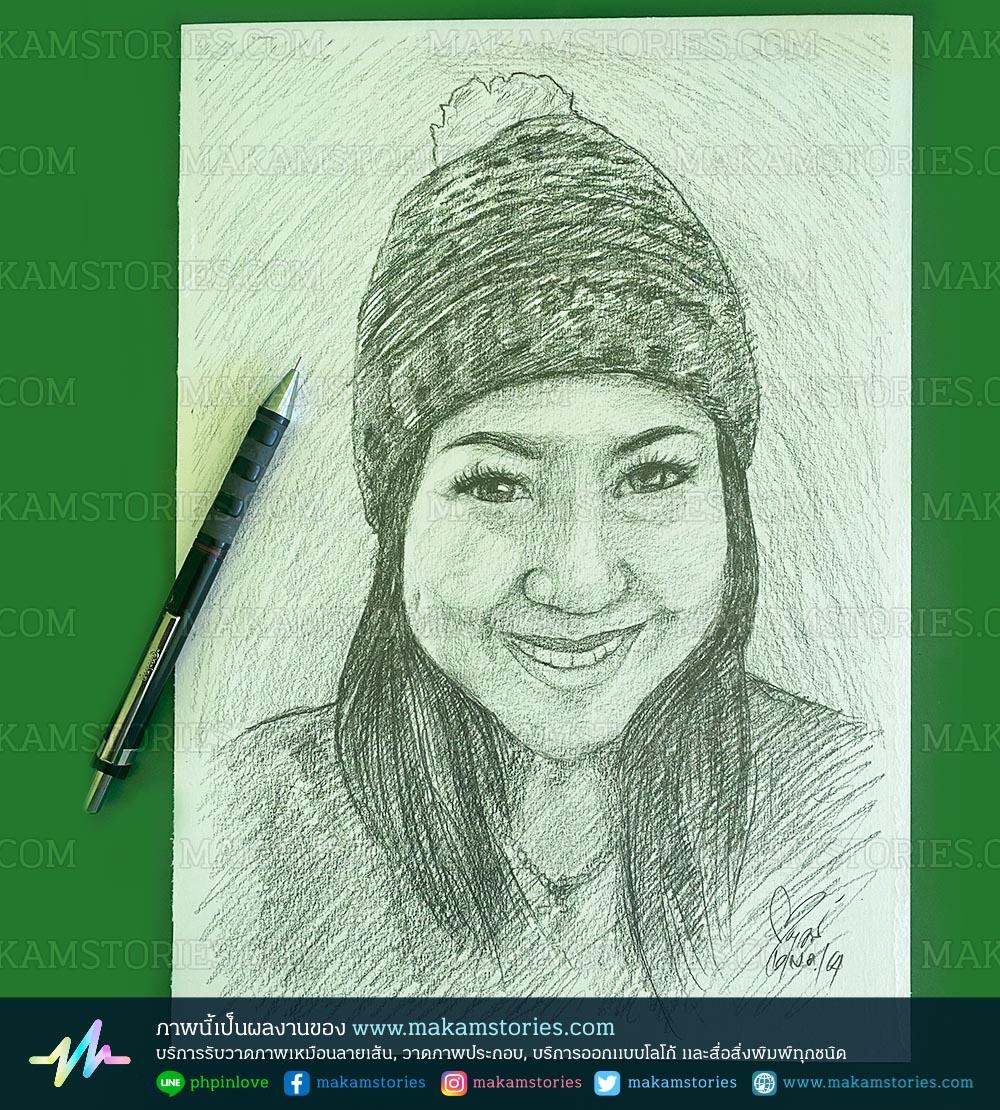 วาดภาพเหมือนลายเส้นดินสอ วาดภาพเหมือนผู้หญิง Drawing Portrait