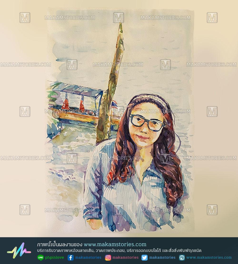 วาดภาพเหมือนสีน้ำ วาดภาพคนเหมือน Watercolor Portrait