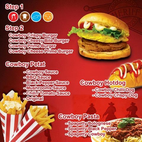 cowboy burger menu merah