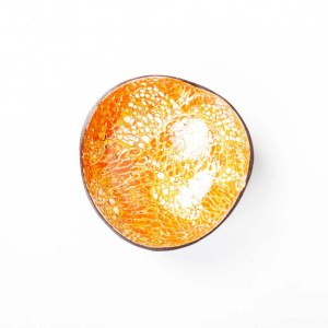 Kokosnussschale Orange mit Gold, Eierschale