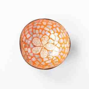 Kokosnussschale Orange mit Blume, Perlmutt & Eierschale