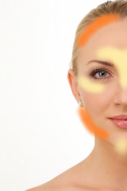 丸顔の人のハイライト、シェーディングの入れる位置