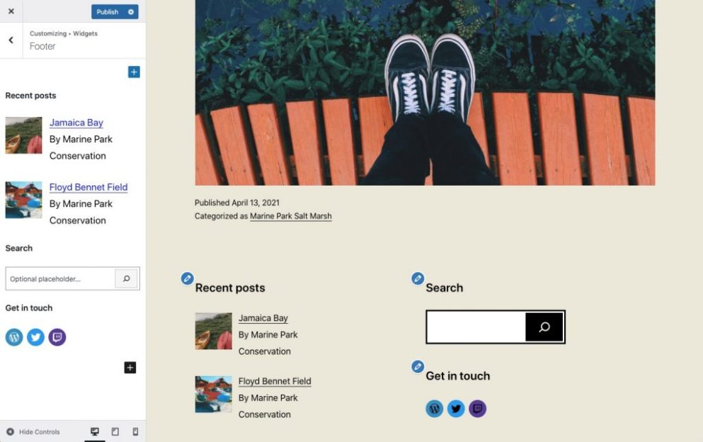 Widgets screen within the customizer