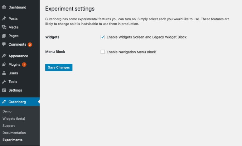 Experiments setting screen in Gutenberg 6.3.