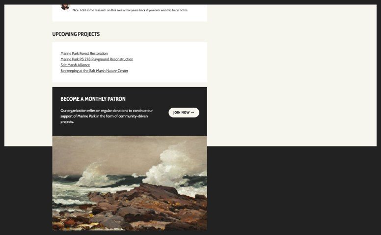 """Footer widget area with a black box that reads, """"Become a monthly Patron"""" with paragraph text and a """"Join now"""" button in a separate column. A painted image of a waves hitting rocks is directly below with no space between."""