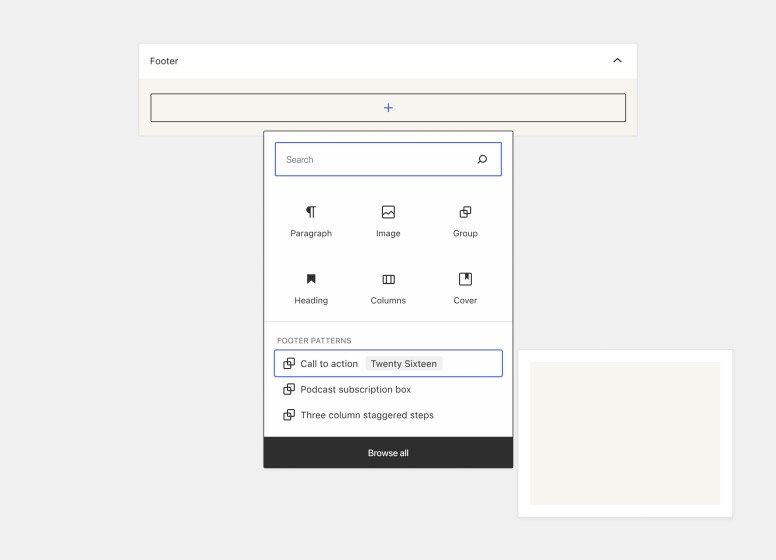 """Footer widget area with a search bar and block options in the top section and pattern options in a section below. There's a black """"browse all"""" button that stretches across the bottom of the popover."""