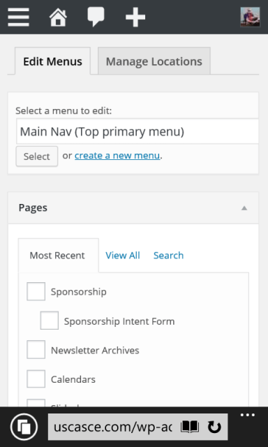 Menus page loads. The menu I want to edit is selected. Scroll down to the menu.