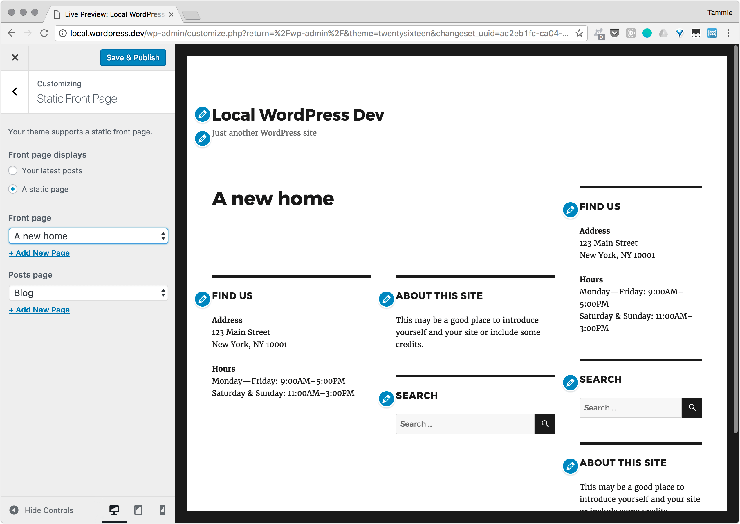 Page on front settings