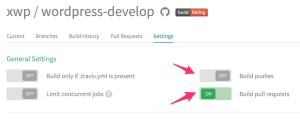 wordpress-develop travis ci config